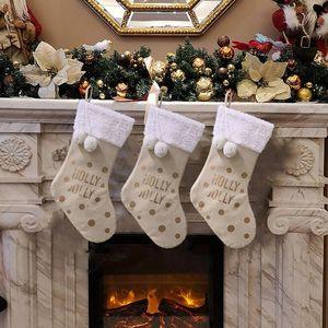 Santa Claus Sock Gift Christmas Stockings Hanging Ornaments Gift Holders Kids Candy Bag Xmas Christmas Tree Decorations