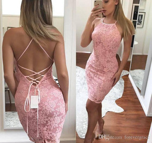 2019 Economici Rosa Fodero Mini Abito Da Cocktail Breve Hater Pizzo Criss Cross Backless Semi Club Wear Homecoming Abito Del Partito Plus Size Custom Make