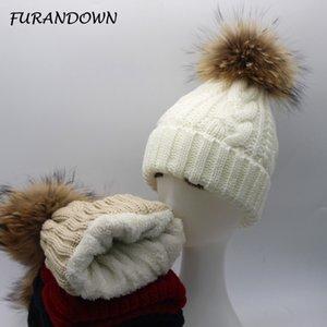 FURANDOWN 2020 Yeni Bayan Polar İç Beanie Şapka Kış Vizon Rakun Kürk Ponpon Şapka Kadın Cap Isınma
