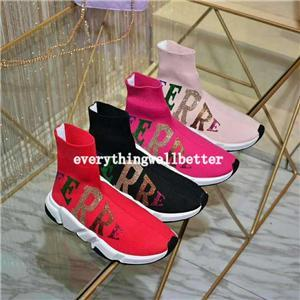 free delivery hococal Fashion Designer Speed Trainer Sock Shoes Men Women Triple Black White Red Glitter Volt Mens Trainers Runners Casual S