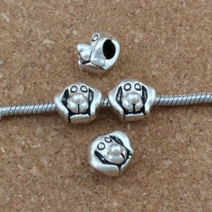 100 unidades / lotes Antigo de Prata Cabeça de Cachorro Golden Retriever Alloy Grande Buraco Bead Fit Europeu Contas Pulseira DIY Jóias 12x11.2mm F-8
