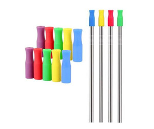 Puntas de silicona de 6 mm para los dientes de acero inoxidable pajas pajas colisión Prevención cubierta de silicona Tubos Epacket gratuito