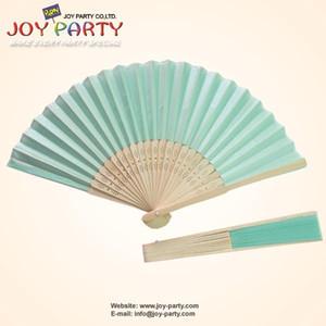 Wholesale- Free Shipping 10 pcs lot 21cm Light blue Tiffany Blue Silk Hand Fan,Fabric Fan, Chinese Craft Fan,Wedding Party DIY Favor