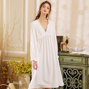 Wasteheart Frauen arbeiten Weibliche White Sexy Nachtwäsche Nachthemd Baumwollspitze Nachtwäsche Sleepnachthemd Nachtwäsche Luxus-Kleid