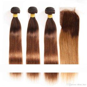 # 4 30 Roots Castani Medi Auburn Ombre diritta indiani umani del Virgin 3bundles capelli con 4x4 Roots chiusura del merletto Brown 2Tone Ombre Weave trame