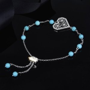 Wholesale- Silver Endless Love Bracelet With Turquoise