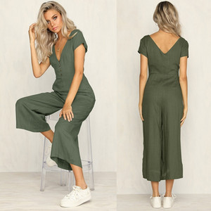 Solid Color Deep V-neck Sexy Sleeveless Jumpsuits 2020 Summer Women Fitness Slim Rompers Button Long Bodysuit Skinny Jogger