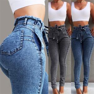 Sashes Casual Bayan Tasarımcı Pantolon ile Sonbahar Yeni Kadınlar Jeans Moda Ruffled Yüksek Waisted Siyah Uzun Jeans