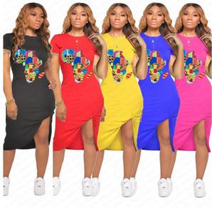 Сплошной цвет лето женщин костюмы Карта шаблон мода платье Sexy Bodycon платье плиссе Повседневный спорт с коротким рукавом платье D7108