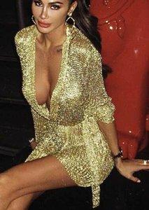 Damen Kleid 2019 Frühling-neue Art und Weise festen Langarm-V-Ausschnitt Sexy Kleider Nachtclub-Art-Rock Rose Gold Sliver Farbe Optional Größe S-XL