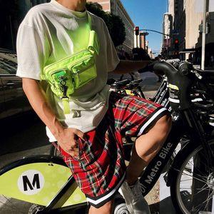 Men 'S escocesa a cuadros de gran tamaño Pantalones cortos holgados pantalones cortos de malla Streetwear tartán gota de la entrepierna pantalones cortos hombres cremallera lateral estiramiento longitud de la rodilla M-2XL