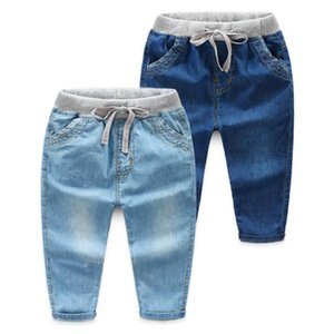 Spring Summer Boys Girls Jeans Fashion Clothes Solid Pants Denim Clothing Children Kids Baby Casual Bowboy Long Trousers 2-7Y