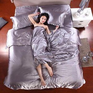 100% pur Literie en satin de soie Set Home Textile lit King Size Set Linge de lit Housse de couette plat feuille Pillowcases
