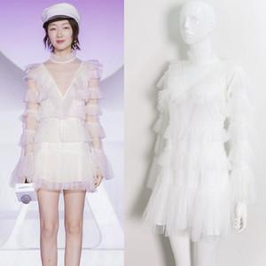 Ücretsiz kargo 2019 tasarımcı yeni varış seksi uzun kollu lolita v boyun İmparatorluğu dantel elbise katmanlı fırfır balo tatlı elbise