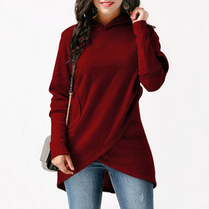 Rogi Hoodie Women Hooded Sweatshirt Womens Hoodies Casual Long Sleeve Pullovers Loose Asymmetric Hoodie Jumper Sweat Femme