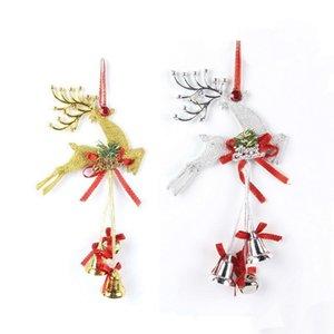 Christmas Fawn Small Bell Colgante Plástico galvanoplastia Árbol Widget Opp Embalaje con oro Plata Colores 2 3pj J1