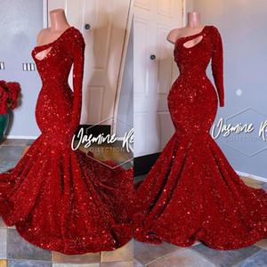 2020 pizzo Abito Prom Dresses Una sirena della spalla scuro Red Party Beads applicazioni di cristalli maniche lunghe Plus Size personalizzato Abiti da sera