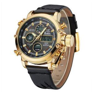Marque Oulm Luxe Top Montres Hommes double affichage analogique Montre numérique Homme Calendrier en cuir véritable Alarme-bracelet à quartz Homme