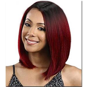 Red Wine Preto Ondas cabeça reta curta peruca de cabelo Chemical Fiber Rose Hair Net Alta Qualidade