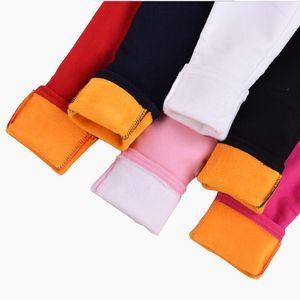 Calças crianças de Inverno de veludo grossas 2018 Baby Girl Leggings algodão de lã de inverno calças quentes para Calças Candy Girl cores crianças