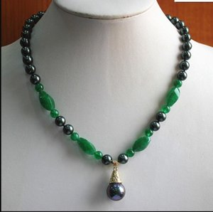 necklace2 stili 8mm black shell pearl / jade / crystal necklace 12mm shell pearl pendant