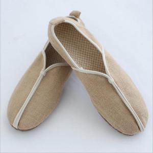 Oriental Homens Roupa Ventilação lazer sapatos de verão retro sapatos slacker asiáticos cobrir pés palha trançada vaca tendão Loafers fundo macio