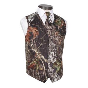 2021 Modest Camo Groom Gilet Rustico Gest da sposa Rustico Tronco d'albero Le foglie Molla Camouflage Slim Fit Gilet da uomo Abbigliamento da uomo 2 pezzi Set (Vest + Tie) su misura