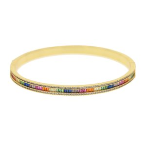 Jewelry Cubic Women Rainbow For Fashion Luxury Hand Cz Colorful Baguette Gorgeous Bangle Zirconia Bracelet Trendy Lady Bvjxe Bkjls