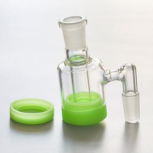 Mini bac à cendres de verre avec récipient en silicone de 10 ml 14mm-14mm pour accessoires en verre