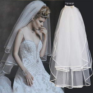 2019 White Ivory Bridal Veil Ribbon Edge for Wedding Cheap Bridal Veils with Comb Short Bridal Accessories