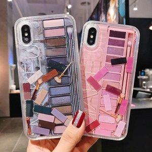 La caja del teléfono maquillaje sombra de ojos arena movediza para el iPhone XR XS Max X 7 7 más dinámico del brillo cosmético cubierta trasera para el iPhone XR 8 8 Plus