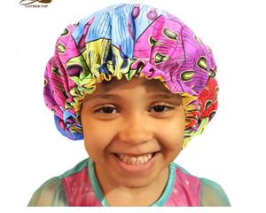 Nuove Extra Large sonno scherza la protezione ragazze regolabile stampa africano Ankara raso Bonnet cappello della protezione di sonno del turbante notte di sonno Beanie Chemo Cap 2-7Y