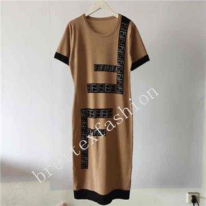 Early Summer 2020 New Thin Ice Silk Circular Collar Short Hot Drill Letter Pullover Knit Dress
