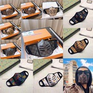 2020 Nova Máscara Top Fashion Paris Luxury Designer cara Máscaras Anti-Poeira pano + PU couro Printing Daily Life Metade Máscara Facial com caixa