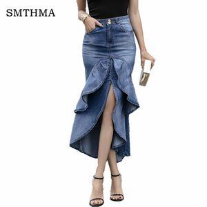 Vintage Ruffle Summer Skirt Women 2019 Korean Fashion High Waist Gradient Asymmetry Jeans Skirts Ladies Denim Mermaid Skirts
