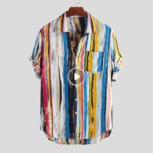 Estilo nuevo de la manera de los hombres de alta calidad de lujo para hombre del multicolor Lump bolsillo en el pecho corto Ronda manga Hem Loose camisas de la blusa