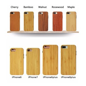 Schlanke 2D Randloser Hybrid Back Cover Natural Wood Bambus-Handy-Fall Ganzkörper-Schutz-TPU Snap-on Bumper für iPhone Samsung Galaxy
