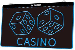 LS1006 Casino Dice forunato Game Bar Pub luce nuova incisione 3D LED segno Personalizza on Demand multipla di colore