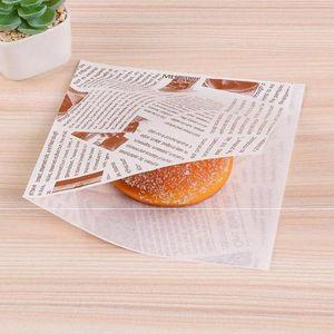 200pcs Sandwich desechable Hojas de papel de embalaje del bolso del triángulo de la hornada bolsa de papel Fried Liners hornada de la galleta aceite-prueba