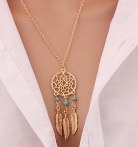 Vintage 2018 New Fashion Mme Bohème Bijoux en argent plaqué évider Dream Catcher net perles perles plumes Glands Collier