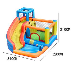 Havuz Ev Kişisel Kullanım Bahçesi Açık W / Blower ile Slide Water Park Combo Tırmanma Su Kaydırağı Yaz Konut Bounce Evleri