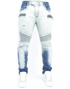 Zipper Jeans Uomo Designer pantaloni della matita Mens sbiancato lavato Joggers Moda Uomo