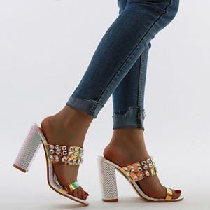 Femenino diseñador de los altos talones de diapositivas de cristal brillante caja de lujo sandalias de diamantes de imitación de cuentas bloquean zapatos de tacón alto, grueso con zapatos de moda estilo caliente