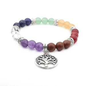 7 Chakra albero della vita di guarigione di cristallo di pietra naturale Bracciali Purpel di cristallo della tigre Occhi Yoga Braccialetti dell'ologramma per le donne