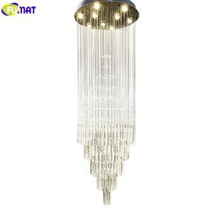 FUMAT Kristal K9 Spiral Merdiven Villa Tavan Lambaları LED Modern Stil Piramit Katmanlar Işıkları Penthouse Avizeler Plafondlamp