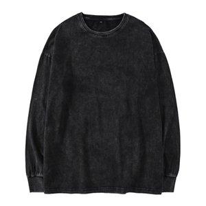 Kanye West surdimensionné T-shirt de hip hop Hommes lourd Washed T-shirts manches longues pour les hommes O Neck Top T-shirts manches longues Homme Streetwear MX200509