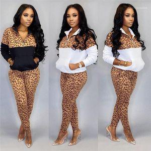 Ladies 2pcs Pants Patchwork Active Female 2pcs Sets Spring Womens Designer Leopard Tracksuits Skinny Zip Stand Collar