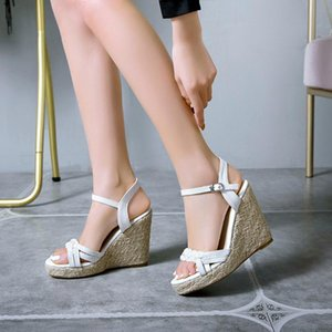 Women Sandals 2020 Summer High Heels Platform Wedge Sandals Women Shoes Ladies Ankle Strap Belt Buckle Open-Toe Shoes #5.30