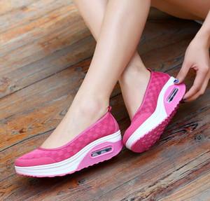 La venta caliente acoplamiento de la manera Tenis Zapatos Casual Shape Ups gruesos del talón bajo enfermera de la mujer zapatos de cuña aptitud oscilación zapatos mocasines más el tamaño 40 41 42