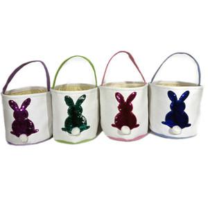 Easter Bunny Tail Panier pailletée Lapin brodé Sacs à main Purse Kid bonbons Oeufs cadeaux Sac de stockage Sacs fourre-tout bricolage seau A122102